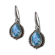 PEAR SHAPE BLUE TOPAZ DROP EARRING
