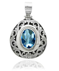 Oval Blue Topaz Filigree Sterling Silver Pendant