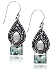 Pear Shape Scroll Sterling Silver Earring with Blue Topaz