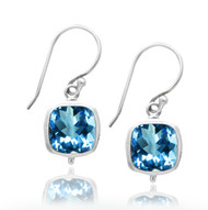 Sterling Silver Square Blue Topaz Drop Double Bezel Earring