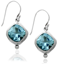 Dangling Square Blue Topaz Sterling Silver Earring