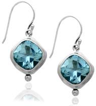 Dangling Square Blue Topaz Sterling Silver Earring