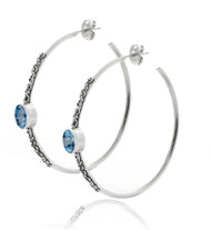 Hoop Earring with Beadwork and Blue Topaz Cabachon