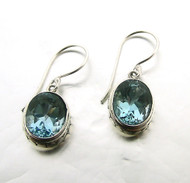 Oval Blue Topaz Earring with Dot Accent