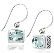 Rectangular Blue Topaz Drop Sterling Silver Earring
