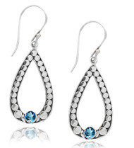 Open Pear Shape Earring with Dot Outline and Blue Topaz