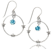 Hammered Open Circle Sterling Silver Earring with Blue Topaz Dangle and Florettes