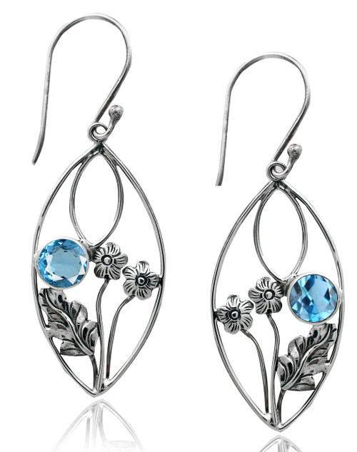 Almond Shape Earring with Blue Topaz and Flower Accent