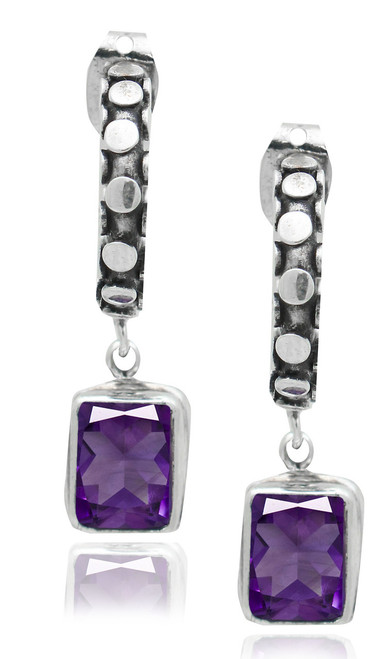 Dotted Huggy Earring with Amethyst Drop