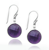 Faceted Round Amethyst Drop Sterling Silver Earring