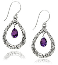 Textured Open Pear Shape Sterling Silver Earring With Amethyst Drop