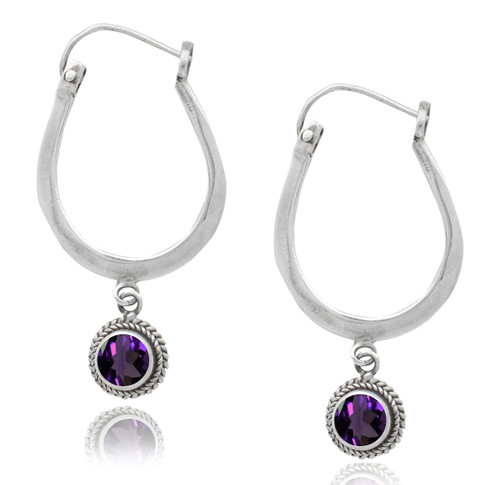 Sterling Silver Hoop Earring With Round Amethyst Drop