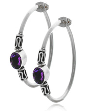 Large Hoop Sterling Silver Earring with Oval Amethyst