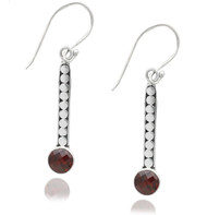 Dotted Stick Sterling Silver Earring with Garnet