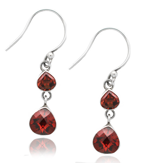 Double Garnet Heart Drop Sterling Silver Earring