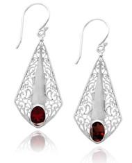 Sterling Silver Lace Drop Earring With Garnet