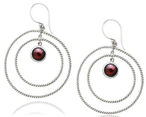 Sterling Silver Cable Circles Earring with Garnet
