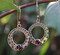 Graduated Open Round with Dots and Garnet Sterling Silver Earring