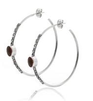 Sterling Silver Large Hoop Earring with Garnet