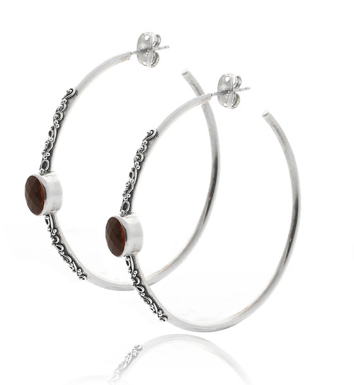 Sterling Silver Large Hoop Earring with Garnet