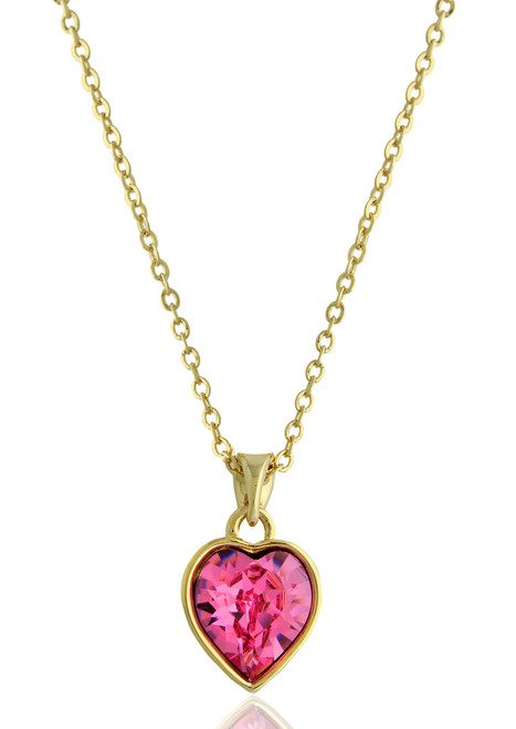 Heart Shape Rose Swarovski Crystal Necklace in Gold Plated Brass
