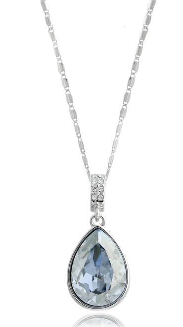 Pear Shape Blue Shade Swarovski Crystal Necklace in Brass