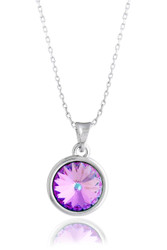 Vitrail Light Amethyst Solitaire Swarovski Crystal Necklace in Brass