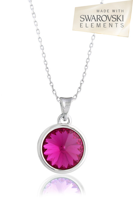 Fuchsia round solitaire swarovski crystal pendant necklace fuchsia pendant necklace swarovski element crystal aloadofball Gallery