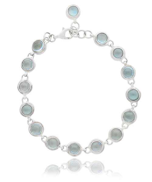 Sterling Silver Oval Blue Topaz Cabachon Tennis Bracelet