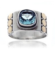Square Blue Topaz with Triple Gold Dotted Ring