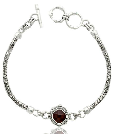 Sterling Silver Square Checkerboard Garnet Center Bracelet