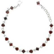 Heart and Squares Garnet Link Bracelet