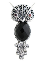 Sterling Silver Owl Onyx and Garnet Pendant