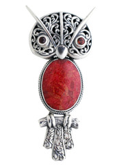 Sterling Silver .925 Red Coral Shell and Garnet Owl Pendant