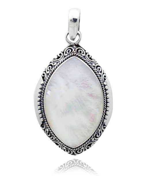 Sterling Silver .925 Almond Shaped White Shell Pendant