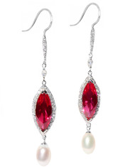 Sterling Silver .925 Marquise Sim Ruby with Pearl Drop Earrings