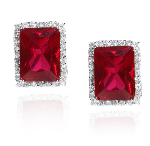 Sim Ruby Pave Cubic Zirconia Clip Earrings