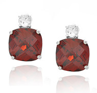 Sterling Silver Cushion Cut Red Ruby Cubic Zirconia Stud Earrings