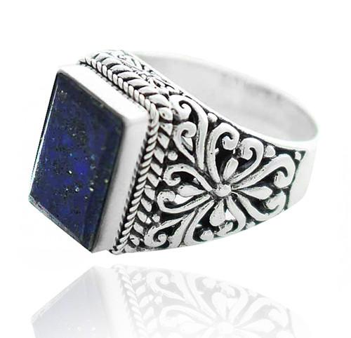 Sterling Silver .925 Rectangular Lapis Filigree Ring