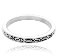 Sterling Silver .925 Skinny Textured Band