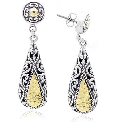 Sterling Silver .925 and Gold TearDrop Petite Earrings