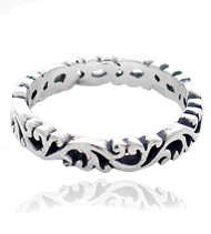 Sterling Silver .925 Cutout Eternity Band