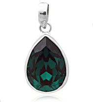 Sterling Silver .925 Pear Emerald Shape Swarovski Element Pendant