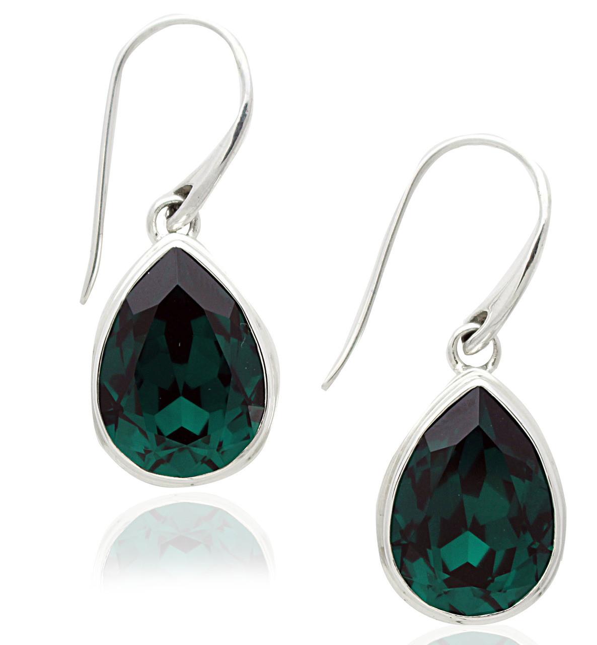 879193be5 Sterling Silver .925 Emerald Swarovski Element Pear Drop Earrings - Artune  Jewelry Online