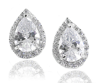Sterling Silver Pear Shaped CZ Halo Estate Leverback Clip Earrings