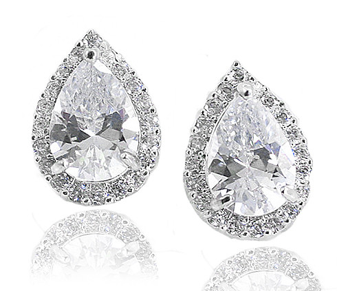 bcde4d11d Sterling Silver Pear Shaped CZ Halo Estate Leverback Clip Earrings