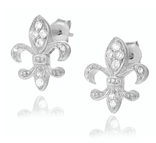 8ae5db96f Sterling Silver Pave Cubic Zirconia Small Fleur de Lis Stud Earrings.  $21.99. Small Fleur de Lis Stud Earrings