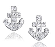 Sterling Silver .925 Anchor Stud Earrings