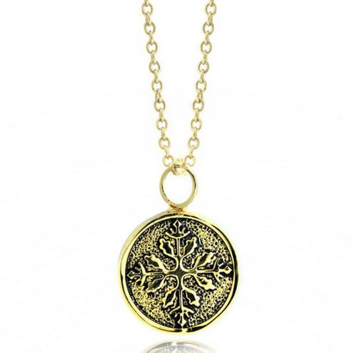 Medallion14K Gold Plated Brass Pendant Necklace