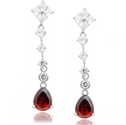 Sterling Silver CZ Pear Shaped Garnet Drop Fancy Earrings